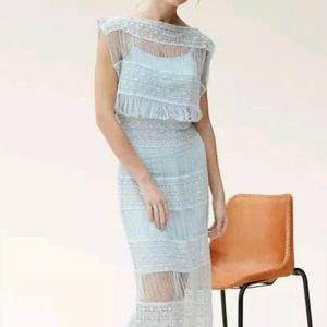 New Anthropologie Fringed Crochet Maxi Dress XS
